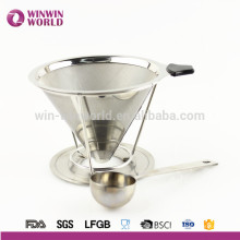 Hot Selling Promotional Gift 18#8 Paperless Removable Stainless Steel Pour Over Coffee Dripper and Brewer With Coffee Scoop